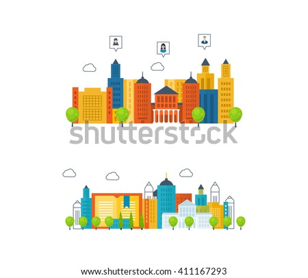 Vector illustration concepts for finding and meeting people, online education, training courses, e-learning, university. Urban landscape and city building. Mobile app. - stock vector