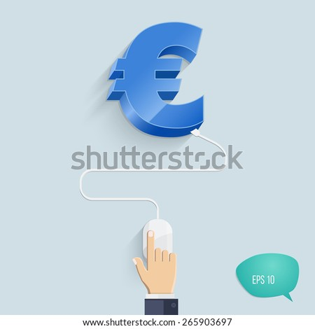 Vector illustration concepts of online earnings methods. E-commerce icons. Euro sign. - stock vector