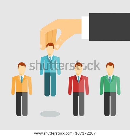 Vector illustration conceptual of human resources management with a businessman selecting a candidate from job applicants for hiring  promotion or dismissal - stock vector