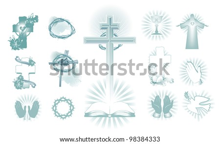 vector illustration contains the image of a set of religious symbols of Easter - stock vector