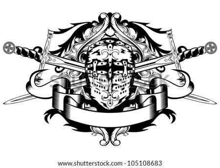 Vector illustration crossed swords and helmet - stock vector