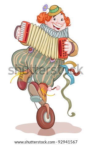 Vector illustration, cute clown juggling and playing on accordion, card concept, white background. - stock vector