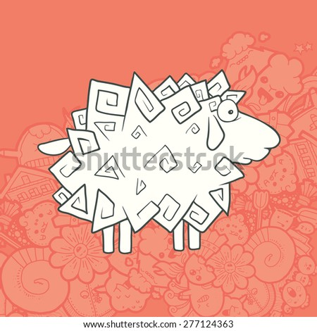 Vector Illustration Cute Hand Drawn Sheep with a flourish in the form of triangles. Greeting card New Year. The concept of the character on abstract Kawaii background. - stock vector