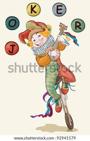 Vector illustration, cute joker playing at mandolin, card concept, white background. - stock vector