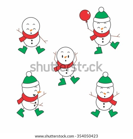 Vector Illustration Cute Snowman in Winter with green attribute - stock vector
