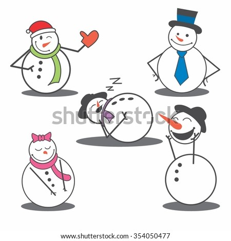Vector Illustration Cute Snowman in Winter with various attribute - stock vector