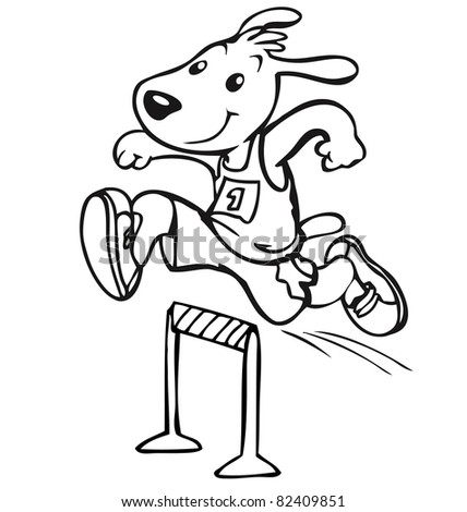 Vector illustration, cute sportive puppy participate in the competition, cartoon concept. - stock vector
