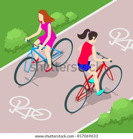 Vector illustration. 3d. Flat. Isometric. Cycling on bike. Cyclists in city.  Isometric Bicycle. Isometric people. Woman - stock vector