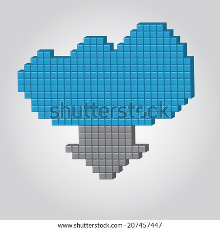 Vector Illustration 3D Pixel Download Cloud for Design, Website, Background.  Texture Bubble Icon Tamplate for Computer - stock vector