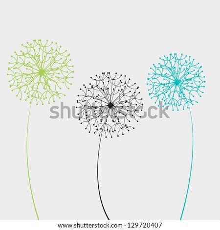 Vector illustration dandelion - stock vector