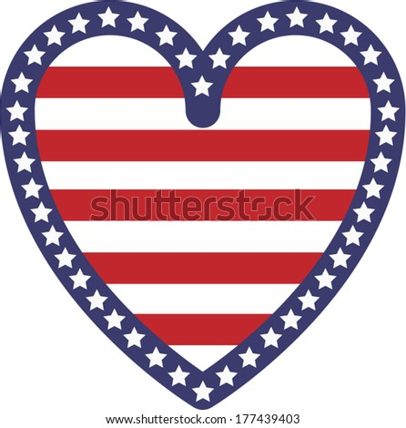 Vector illustration decoration of an heart with the American flag stars and stripes symbols - stock vector
