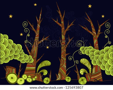 Vector illustration, decorative drawing, psychedelic landscape, card concept. - stock vector