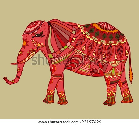 Vector illustration, decorative oriental elephant, card concept. - stock vector