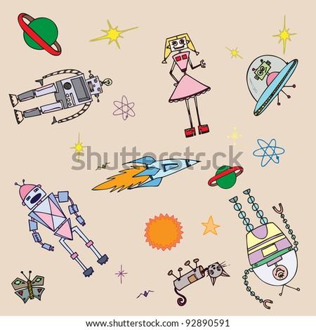 Vector illustration, decorative robots, pattern concept. - stock vector