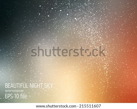 Vector illustration - deep sky night with stars and Milky Way - stock vector