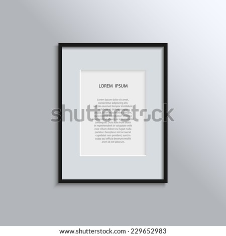 Vector illustration design concept for your project - blank modern A4 black frame on a white wall with place for text. EPS10 - stock vector
