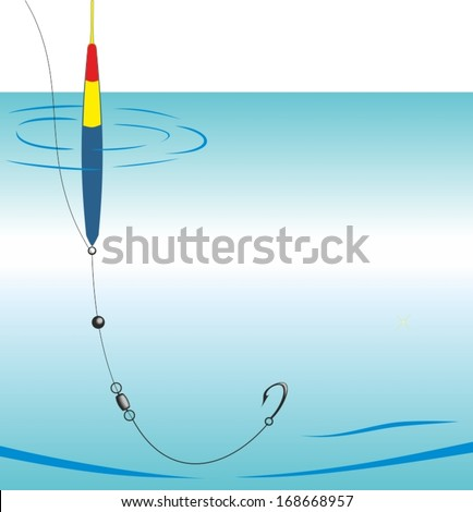 Vector illustration. Device carp fishing rod - stock vector