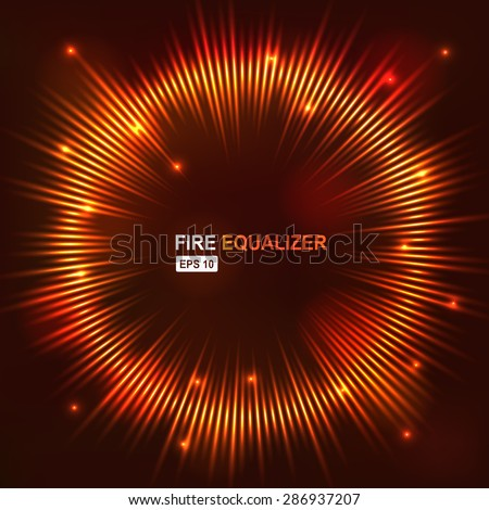 Vector illustration digital fire red equalizer club studio dance music. Sound wave futuristic display. Music equalizer. Equalizer Drawing. Equalizer Graphic. Sound equalizer waves Sound Waves Volume - stock vector