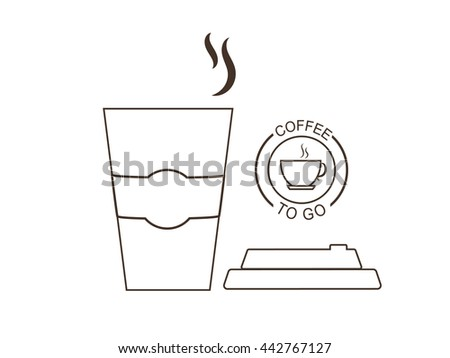 Vector illustration disposable coffee cup on white background. Coffee cup logo. Coffee cup lid is placed beside the cup. - stock vector