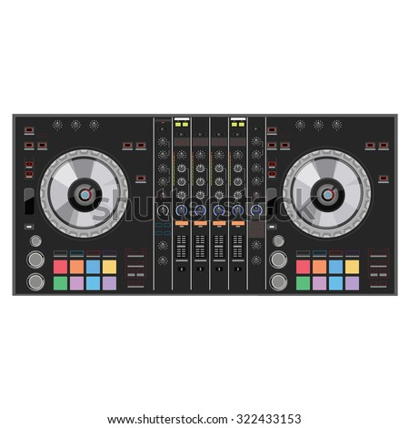 Vector illustration DJ club music console. Mixing desk production sound desk console sliders, buttons, knobs and switches - stock vector