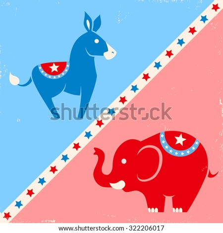 Vector illustration donkey and elephant. United States political party symbols - stock vector