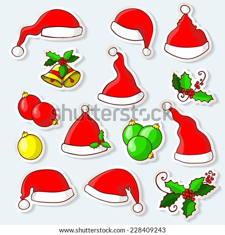 Vector illustration. doodle - Set of stickers with Christmas elements - stock vector