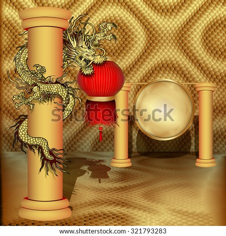 Vector illustration dragon with Chinese lanterns in the leg on the pillar and a disca gold gong volume background.It can be used as a poster, advertising with any text and image, or separately. - stock vector