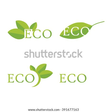 Vector illustration ecology icon set, collection. Eco symbols, labels. Set of eco friendly, natural and organic labels. - stock vector