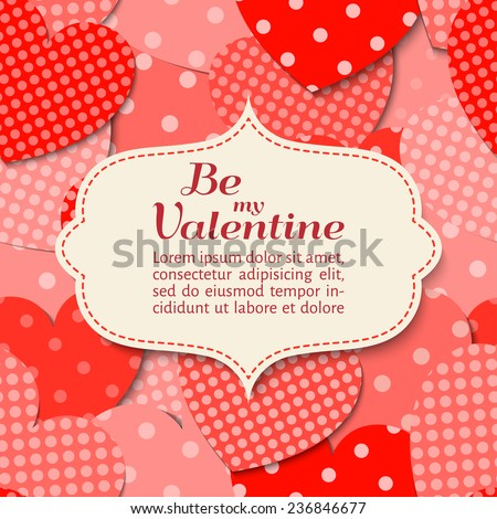vector illustration. Elegant paper scrapbook card with heart.  Valentines Day. Background pattern is seamless. - stock vector