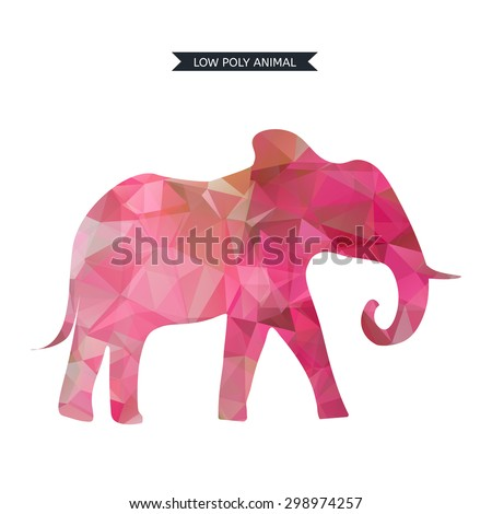 Vector illustration elephant. Animal 3d isolated. Low poly design. - stock vector