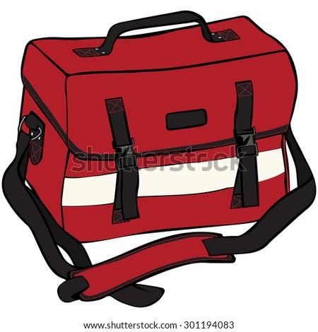 Vector illustration, emergency bag, cartoon concept, white background. - stock vector
