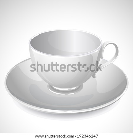Vector illustration - empty cup on plate  - stock vector