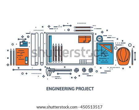 Vector illustration. Engineering and architecture. Notebook, computer . Drawing, construction.  Architectural project. Design, sketching. Workspace with tools. Planning, building.  - stock vector