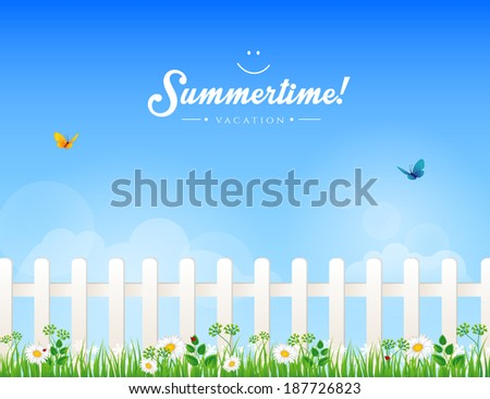 Vector illustration (eps 10) of White fence with grass - stock vector