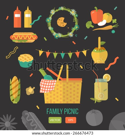 Vector illustration family picnic. Summer, spring barbecue and picnic icons set. Flat style. Snacks, vegetables, healthy food. Family party items, decorations, food. Romantic dinner, lunch for lovers - stock vector