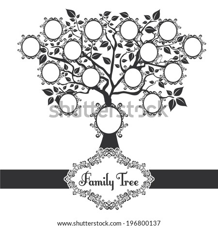 Vector illustration family tree black - stock vector