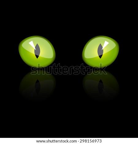 vector illustration, feline green eyes - stock vector
