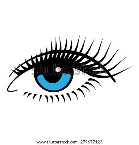 Vector illustration. Female blue eye. - stock vector