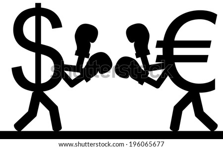 Vector / illustration.Fight between a dollar and a euro. - stock vector