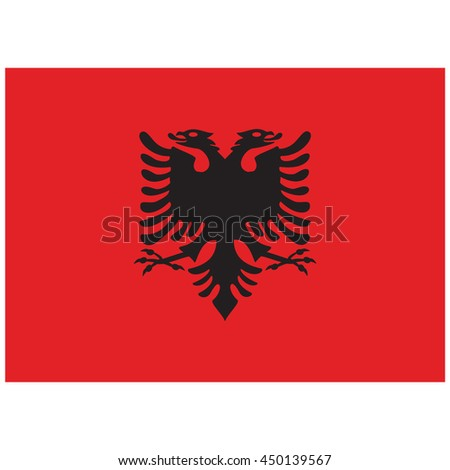 Vector illustration flag of Albania icon. Rectangle national flag of Albania. Albania flag button - stock vector