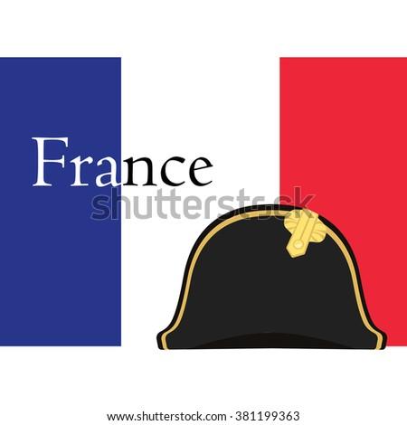Vector illustration flag of France with text france and black Napoleon Bonaparte hat. General bicorne hat. France symbol - stock vector