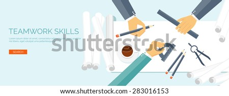 Vector illustration. Flat architectural project. Teamwork. Building and planning. Construction. Pencil, hand. Architecture and design.  - stock vector