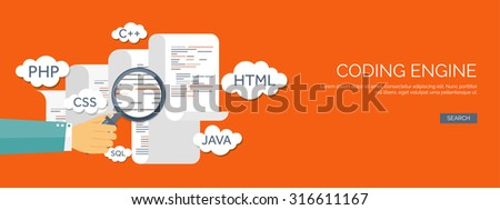 Vector illustration. Flat background. Coding and programming. SEO. Search engine optimization. App development and creation. Software and program code. Web design. - stock vector