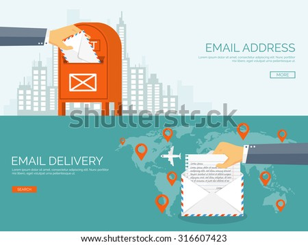 Vector illustration. Flat background. Hand with postbox. World map.Envelope. International communication. Business correspondence and private messages. Express delivery. Postal services. Chatting. - stock vector