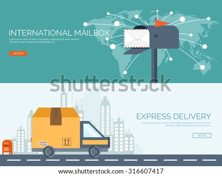 Vector illustration. Flat background. Postbox, car with package. Envelope. International communication. Packaging, transportation.. Express delivery. Postal services. Chatting. - stock vector