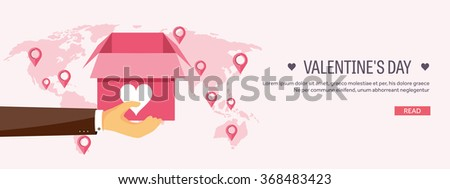 Vector illustration. Flat background with box and hand. Love, hearts. Valentines day. Be my valentine. 14 february.  Message. - stock vector