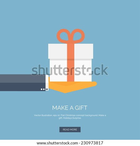 Vector illustration. Flat background with hand and gift box. - stock vector