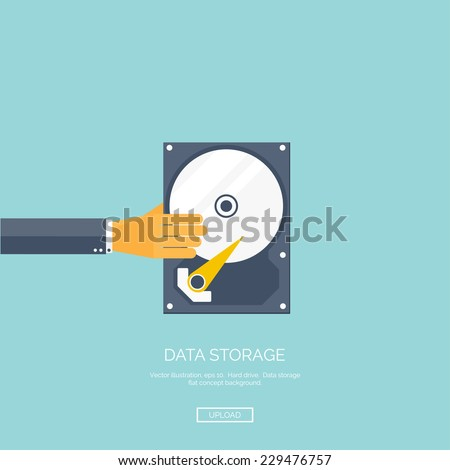 Vector illustration. Flat background with hand and hard drive. Information transfer. Web storage concept background. Cloud computing. - stock vector