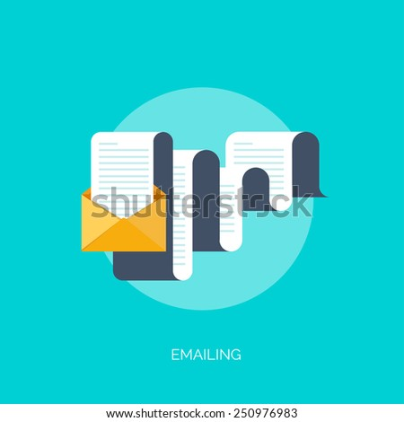 Vector illustration. Flat background with hand and letter. Emailing concept background. Spam and sms writing.Lettering. - stock vector