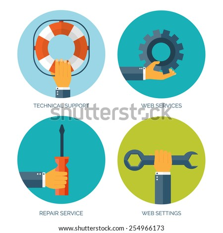 Vector illustration. Flat background with hand and lifebuoy and tools.  Technical support concept. Online help. - stock vector